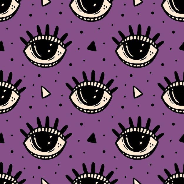 Ojo morado, símbolo mágico. patrón sin fisuras de halloween. esotérico, sobrenatural, paranormal. Vector Premium