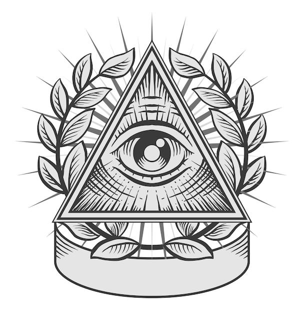 El ojo que todo lo ve. ilustración en blanco y negro Vector Premium