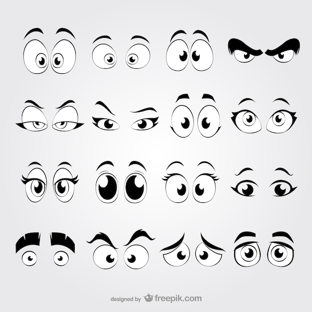 Ojos de dibujos animados vector gratuito