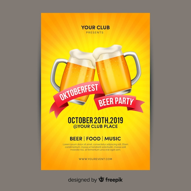 Oktoberfest de diseño plano con plantilla de póster de cervezas vector gratuito