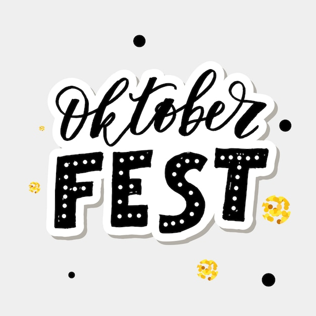 Oktoberfest letras caligrafía pincel texto vacaciones vector oro Vector Premium