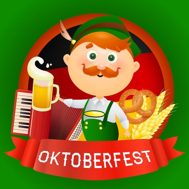 Oktoberfest personaje de hombre de dibujos animados en traje tradicional vector gratuito