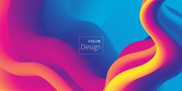 Ola. colores fluidos. forma líquida. salpicadura de tinta. nube colorida. ola de flujo. cartel moderno. fondo de color. . Vector Premium