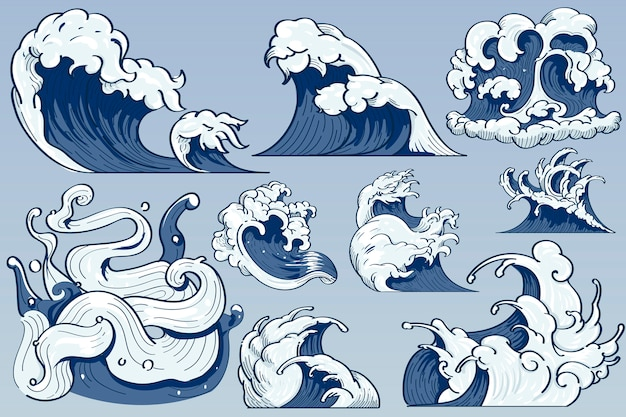 Ola japonesa doodle vector gratuito