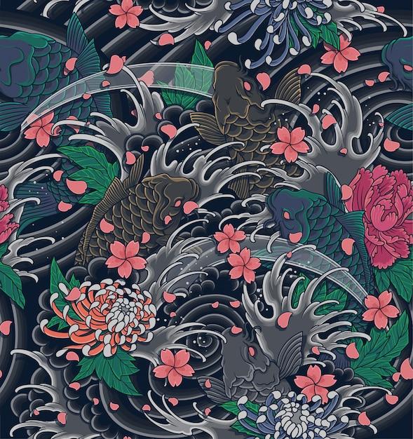 Ola japonesa y koi ilustración de patrones sin fisuras. Vector Premium
