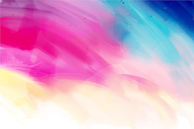 Olas de fondo colorido pintado a mano vector gratuito