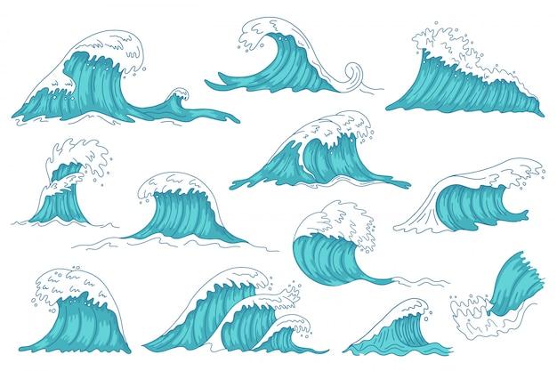 Las olas del mar. ola de agua dibujada a mano del océano, olas de tsunami de tormenta vintage, conjunto de iconos de ilustración de eje de agua marina furiosa. tormenta del océano de agua, colección de olas de salpicaduras Vector Premium