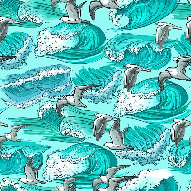 Olas del mar de patrones sin fisuras vector gratuito