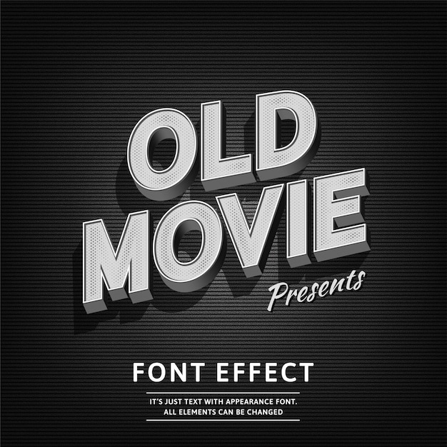 Old movie vintage 3d estilo retro tipografía retro Vector Premium