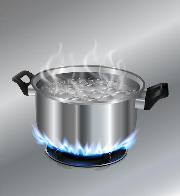 Vector Premium | Olla de acero inoxidable agua hirviendo