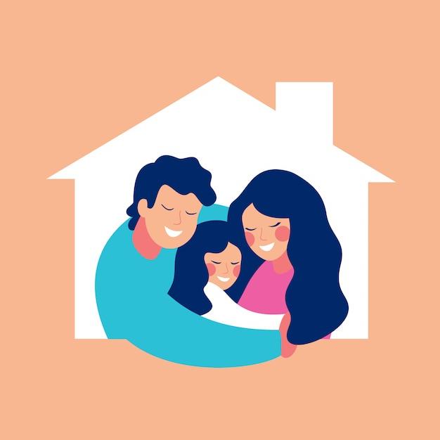 Сoncept alojar a una familia joven con un hijo. Vector Premium