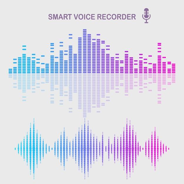 Onda de audio de sonido del ecualizador. frecuencia de la música en el espectro de colores. Vector Premium