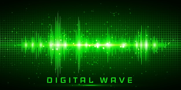 Onda digital, ondas de sonido oscilantes de luz resplandor, fondo de tecnología abstracta Vector Premium