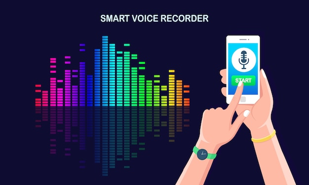 Onda de gradiente de audio de sonido del ecualizador. teléfono móvil con icono de micrófono en pantalla. aplicación de teléfono móvil para grabación de radio de voz digital. frecuencia de la música en el espectro de colores. Vector Premium
