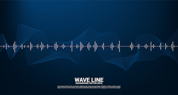 Onda de sonido de fondo ecualizador de música. música voz señal audiovisual Vector Premium