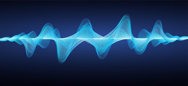 Ondas de sonido azules abstractas. Vector Premium