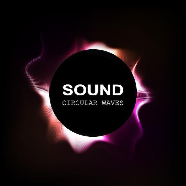 Ondas de sonido de color radial aisladas sobre fondo oscuro Vector Premium