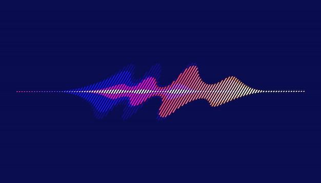 Ondas sonoras, fondo abstracto de onda de sonido de movimiento. Vector Premium