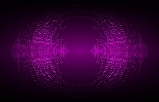 Ondas sonoras oscilantes de luz púrpura oscura Vector Premium