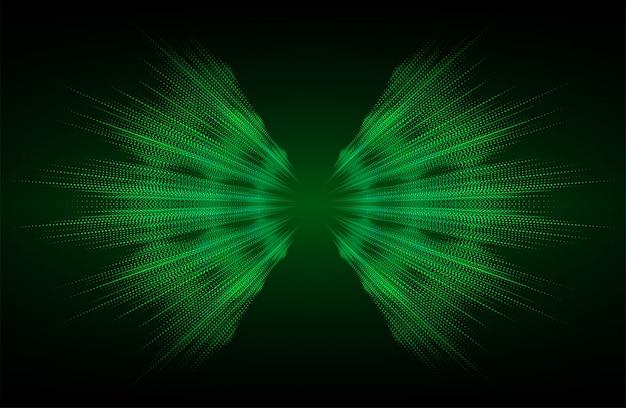 Ondas sonoras que oscilan fondo de luz verde oscuro Vector Premium