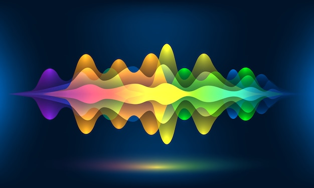 Ondas de voz coloridas o movimiento frecuencia de sonido ritmo radio dj amplitud Vector Premium