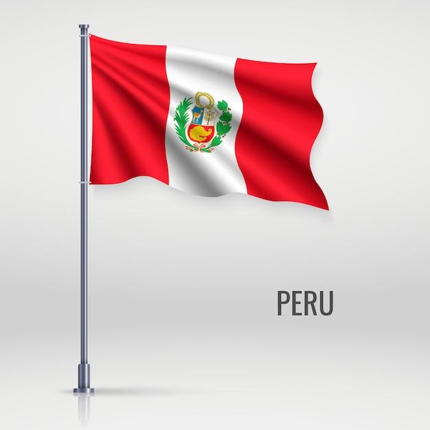 Ondeando la bandera en asta de bandera. Vector Premium