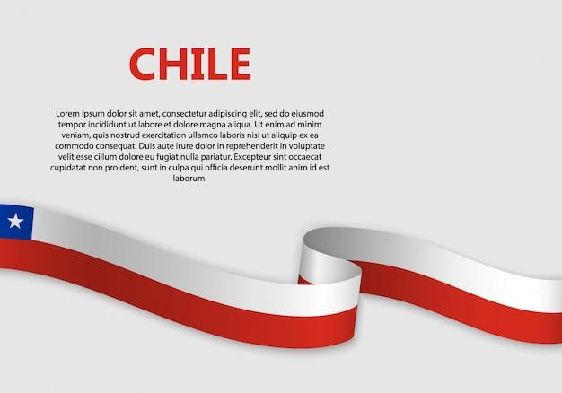 Ondeando bandera de bandera de chile Vector Premium