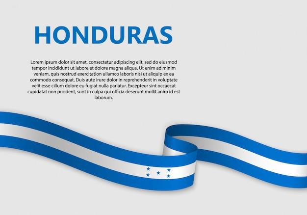 Ondeando bandera de bandera de honduras Vector Premium