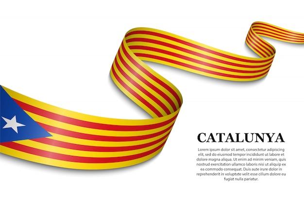 Ondeando la bandera del independentista catalán Vector Premium