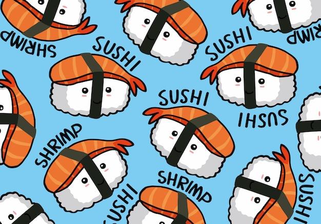 Onigiri y sushi patrón de doodle inconsútil Vector Premium