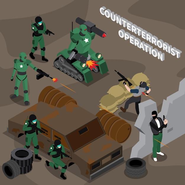 Operación contraterrorista composición isométrica vector gratuito