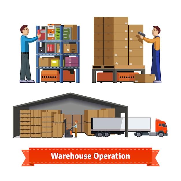 Operaciones de almacén, trabajadores y robots vector gratuito