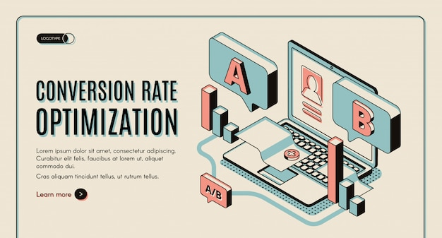 Optimización de la tasa de conversión web isométrica banner. vector gratuito