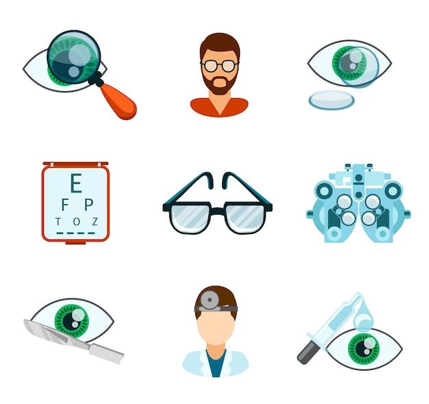 Optometría y conjunto plano de iconos ópticos. pipeta y oculista, análisis ocular, oftalmología y tratamiento, vector gratuito