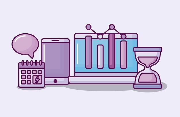 Ordenador portátil con iconos de negocios electrónicos vector gratuito