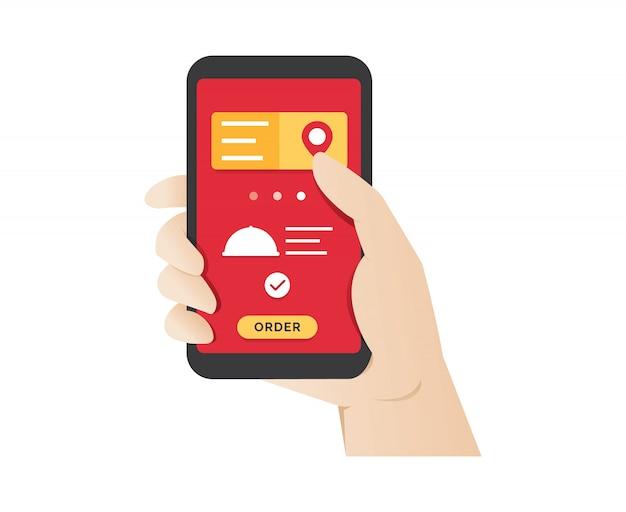 Ordenar comida usando la aplicación móvil en línea Vector Premium
