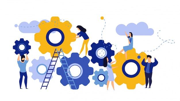 Organización empresarial de hombre y mujer con engranaje circular Vector Premium