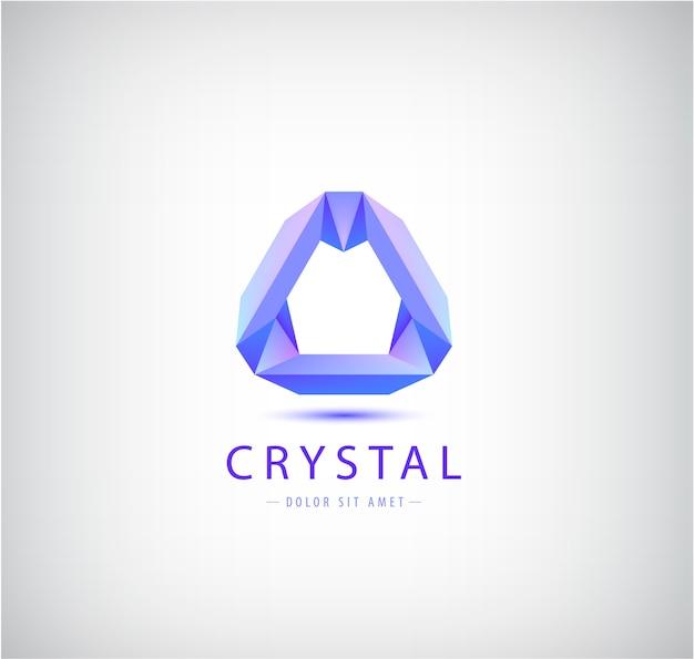 Origami abstracto, forma geométrica de cristal, logotipo, identidad de la empresa. icono de tecnología futurista moderno aislado Vector Premium