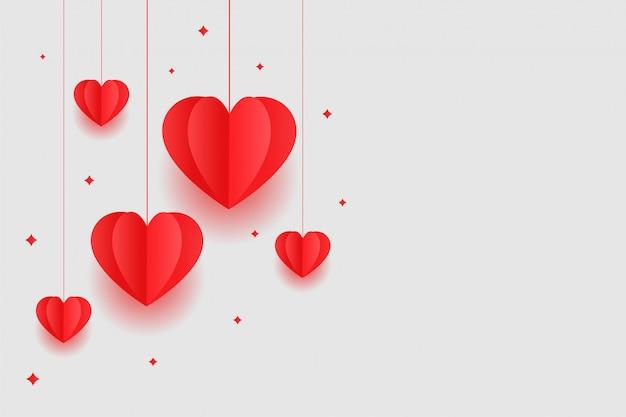 Origami corazones rojos diseño de fondo del día de san valentín vector gratuito