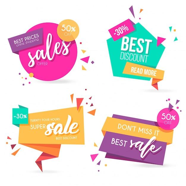Origami sale banner collection con colores modernos vector gratuito