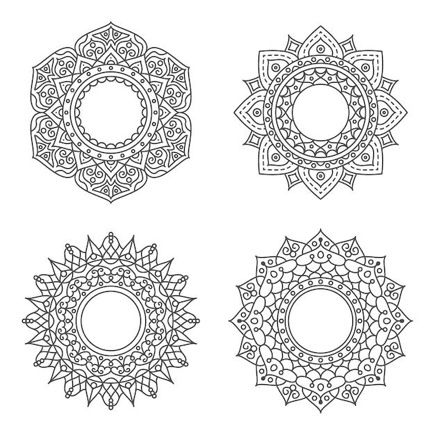 Ornamento abstracto del círculo con el concepto de flor Vector Premium