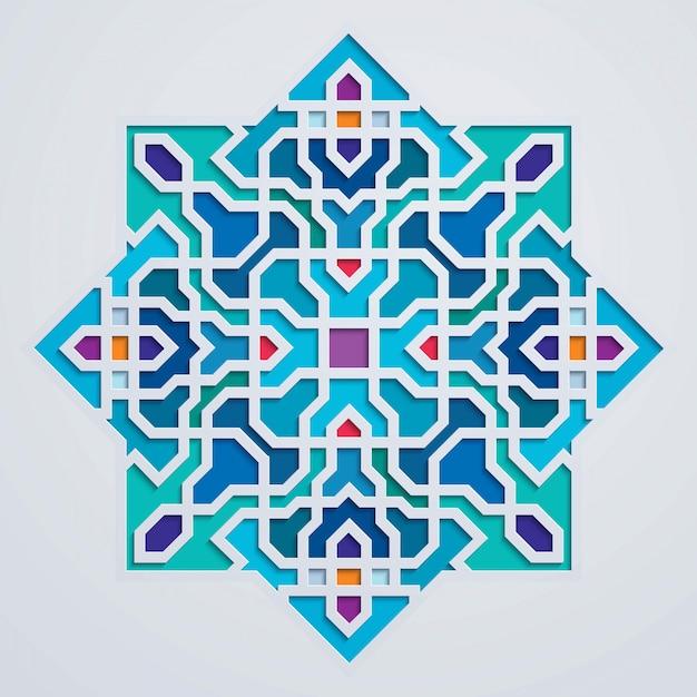 Ornamento árabe geométrico marruecos colorido fondo Vector Premium