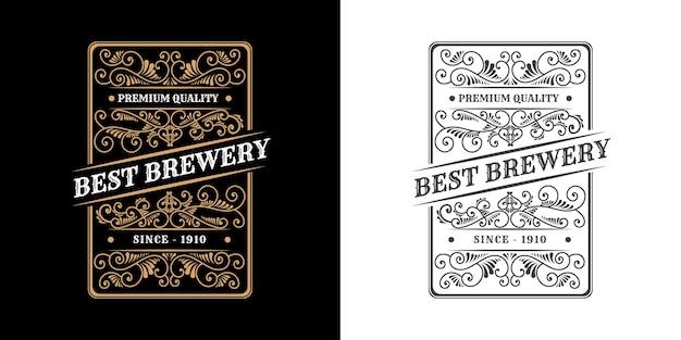 Ornamento caligráfico marco de borde de lujo vintage etiqueta de logotipo antiguo occidental grabado dibujado a mano retro para cerveza artesanal cerveza artesanal vino whisky bebida licor bar tienda hotel y restaurante Vector Premium