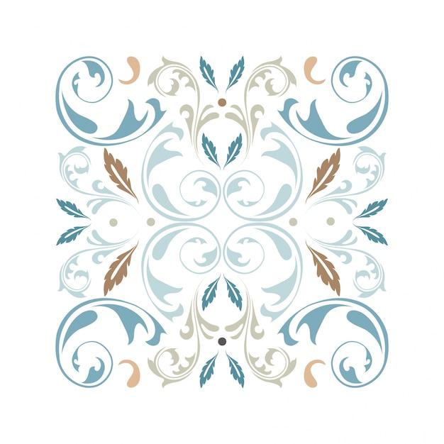 Ornamento cuadrado oriental vector con elementos arabescos Vector Premium