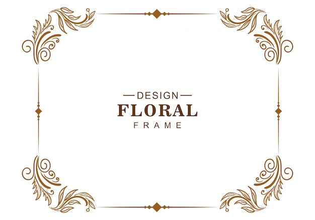 Ornamento decorativo diseño de marco floral creativo. vector gratuito