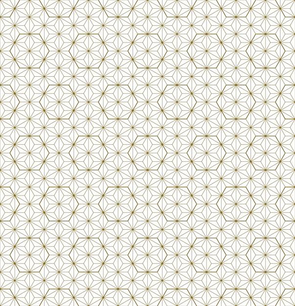 Ornamento japonés tradicional sin costuras kumiko.líneas de color dorado. Vector Premium