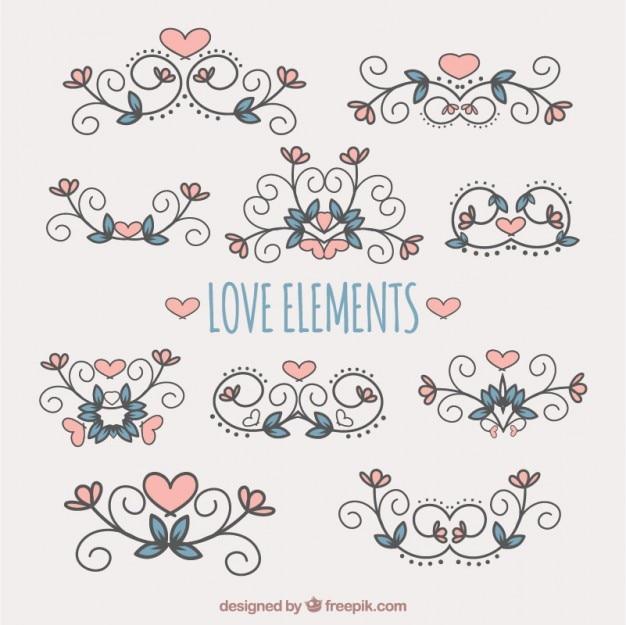 Ornamentos dibujados a mano con corazones y hojas de colores ...
