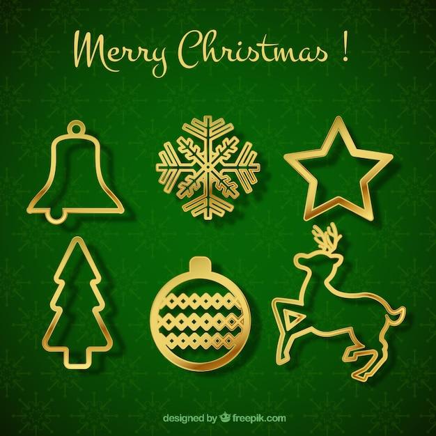 Ornamentos dorados de navidad descargar vectores gratis - Ornamentos de navidad ...