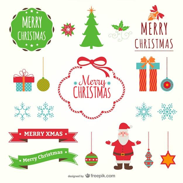Ornamentos planos de navidad a color descargar vectores - Ornamentos de navidad ...