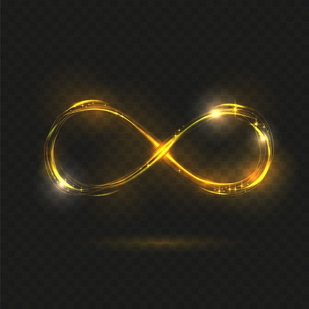 Oro brillante símbolo de infinito. Vector Premium
